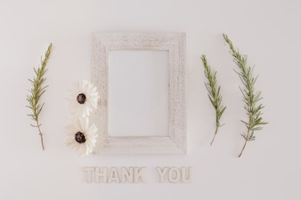 Wood frame with thank you message