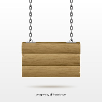 Wood sign hanging on a chain