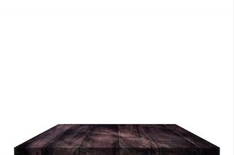 分離した上の木製テーブルトップまたはシェルフ