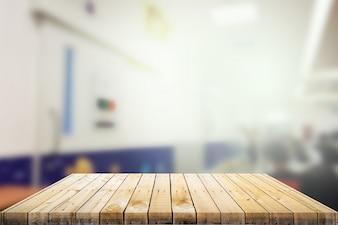 背景付きの木製テーブルトップ