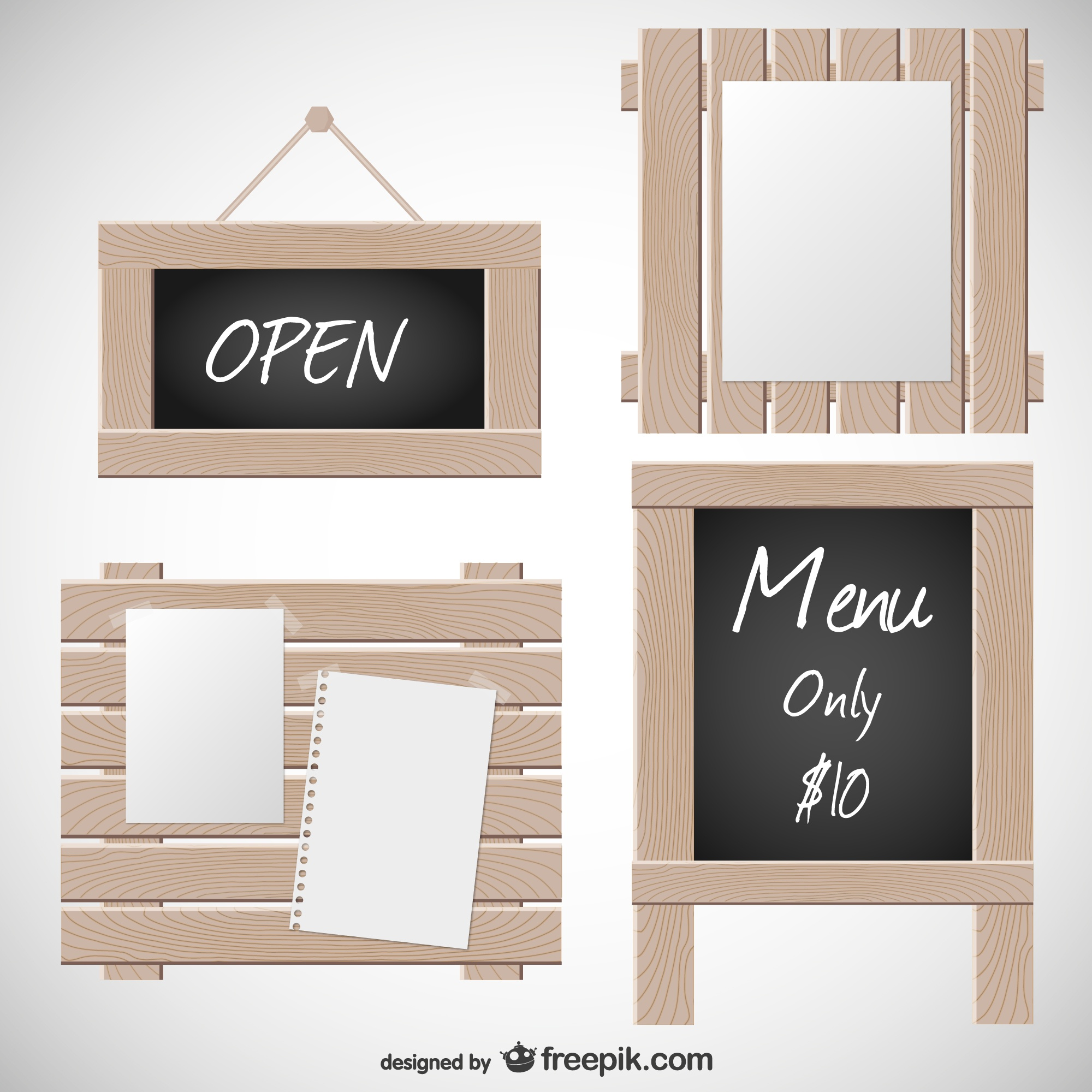 Wooden and blackboard signs