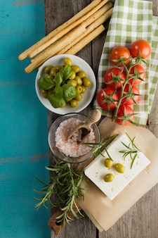 Wooden background with delicious ingredients