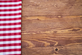 Wooden Background with Plaid Fabric