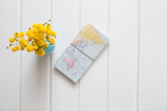 Wooden background with yellow flowers and world map