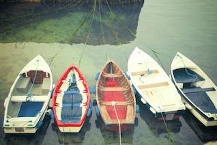 Wooden boats moored