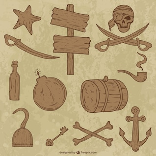 Wooden collection of pirate objects