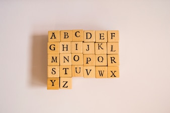 Wooden cubes with letter