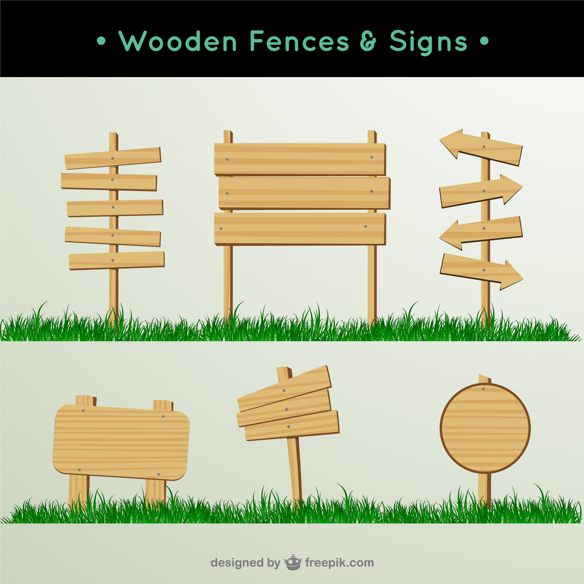 Wooden fences and signs