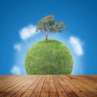 Деревянный пол с фоном планеты