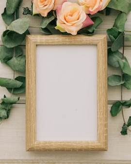 Wooden frame and floral ornaments