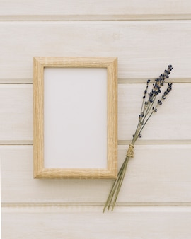 Wooden frame and wedding flowers