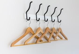 Wooden hangers hanging