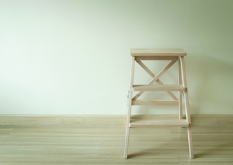 Wooden ladder in the room
