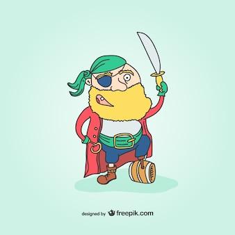 Wooden leg pirate cartoon