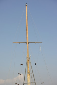Wooden mast of a boat