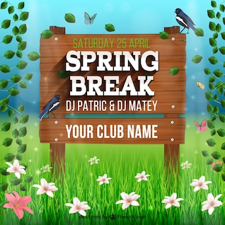 Wooden sign for spring break party