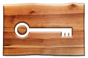 鍵のマークの付いた木の看板