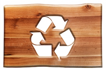 Wooden sign with the symbol  recyclable