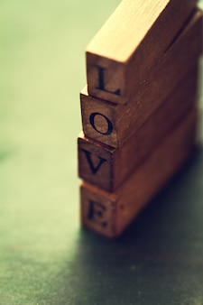 Wooden sticks with the word  love
