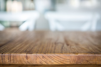 Wooden surface with blurred background