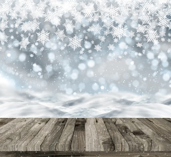 Wooden table on a christmas background with snow and bokeh lights
