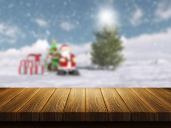 Wooden table with christmas santa landscape in the background