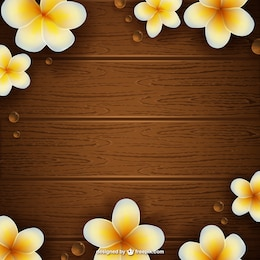 Wooden texture with flowers