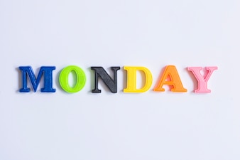 Word Monday made with colorful letters