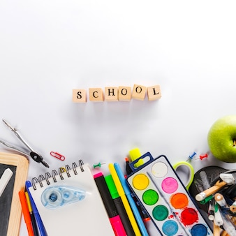 Word 'School' and office supplies