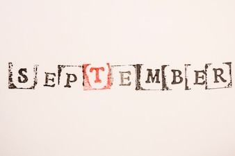 Word September made with stamping