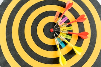 Words smart goals with dart target on dartboard