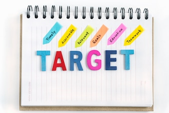 Words target on the notebook with handwriting