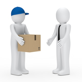 Worker giving a fragile box