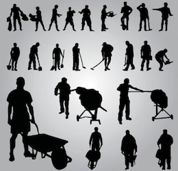 Worker Silhouettes. vector