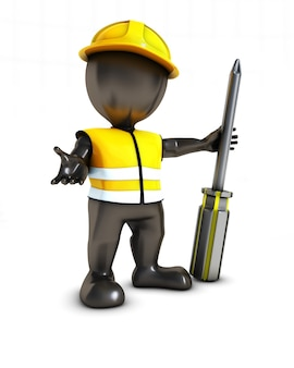 Worker with a screwdriver