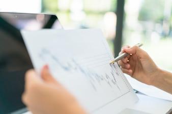 Working tablet paperwork businesspeople education