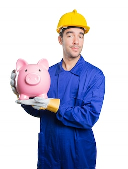 Workman worried about his economy on white background