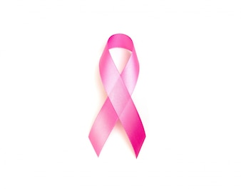 World cancer day : Breast Cancer Awareness Ribbon on white Backg