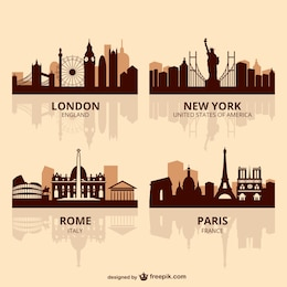 World capitals skyline vector