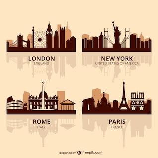World capitals skyline vector