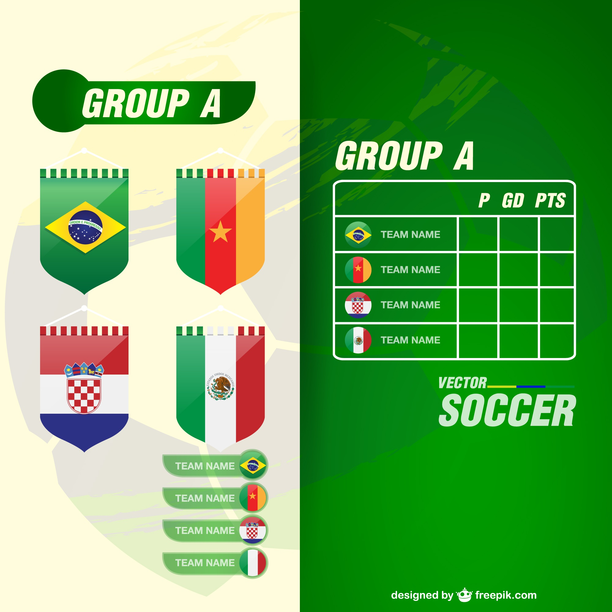 World cup groupe teams vector template