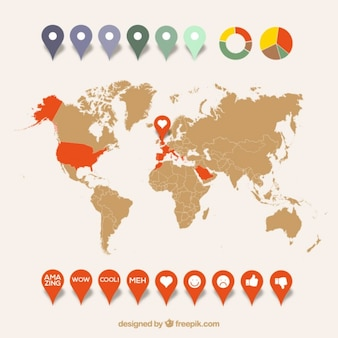 World map infographic with pointers