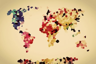 World map made with colorful polygons
