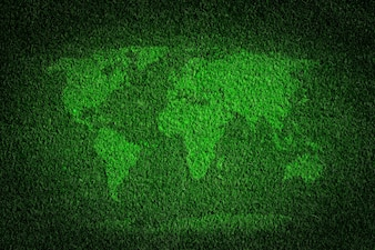 World map made with grass
