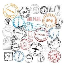 World Stamps Postmark vector set