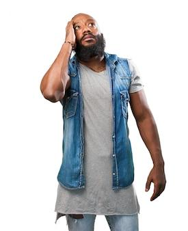 Worried man with beard
