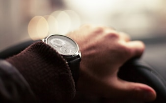Wrist watch driving car detail