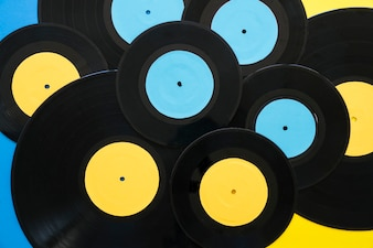 Yellow and blue vinyls