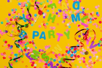 Yellow background with confetti where you put  party