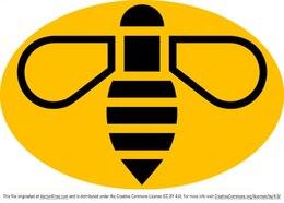 Yellow bee logo vector badge